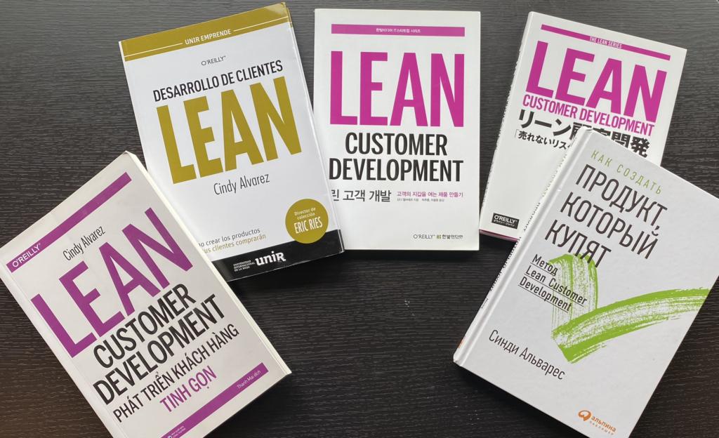 image of Lean Customer Development books, translated into Vietnamese, Korean, Japanese, and Russian.